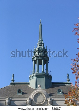 Old City Hall, Berkeley, California -- Detail of roofline and cupola. - stock photo