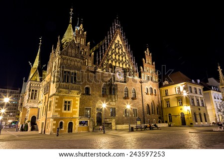 Old City Hall in Wroclaw, Poland. Wroclaw old and a very beautuful city in Poland - stock photo