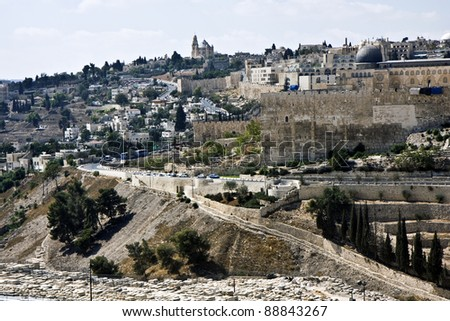 Old city in Jerusalem - view from Olive mountain - stock photo
