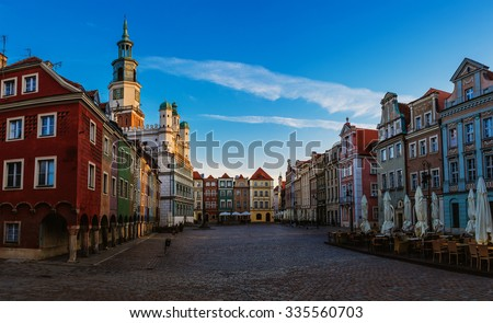 Old city in Poznan. Poznan is a city on the Warta river in west-central Poland, in the region called Wielkopolska (Greater Poland). - stock photo