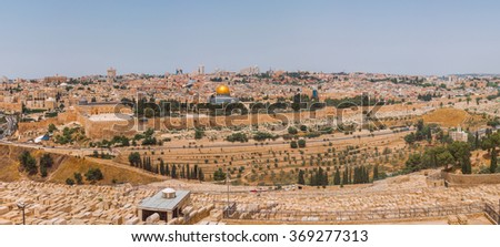 Old City Jerusalem from the Mount of Olives Overlooking a Graveyard and Valley in Israel - stock photo