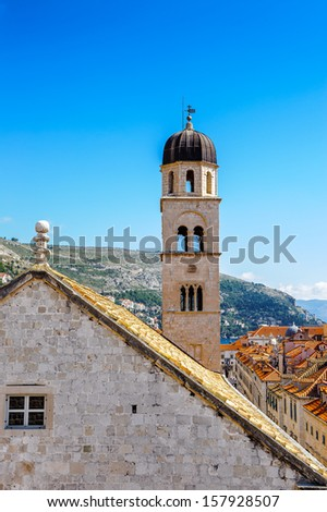 Old City of Dubrovnik (Croatia), a city on the Adriatic Sea,  It is one of the most prominent tourist destinations in the Mediterranean - stock photo