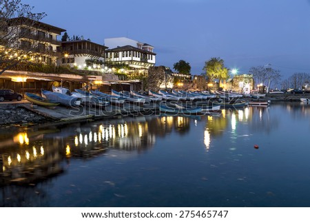 Old city of Nessebar at night - stock photo