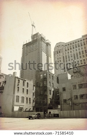 Old City (Retro Design) - stock photo
