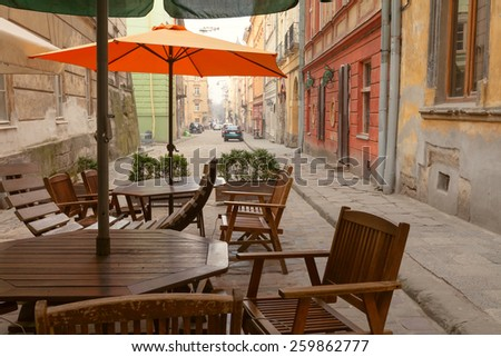 old city street view vintage cafe  - stock photo