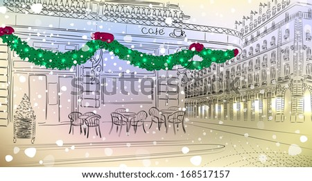 Old city view with cafe with Christmas decorations. Raster version of vector illustration  - stock photo