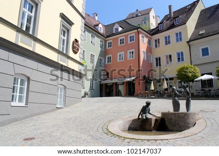 Old City with Fountain - stock photo