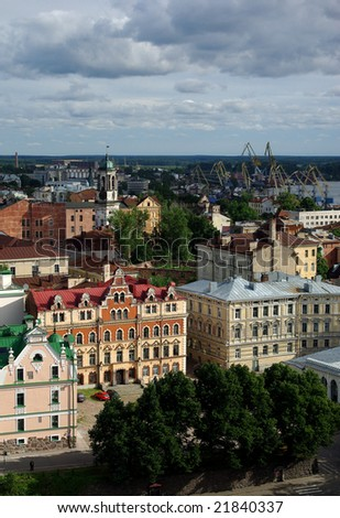 Old city Wyborg.Small city on border of the Finland and Russia - stock photo