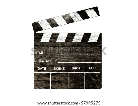 Old clapper board isolated on white - stock photo