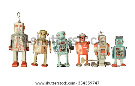 old classic tin robot toys isolated - stock photo