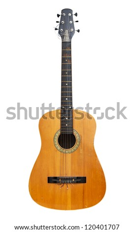 Old classical acoustic guitar. Isolated with paths - stock photo