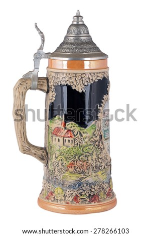 Old clay beer mug with a cover isolated on a white background - stock photo