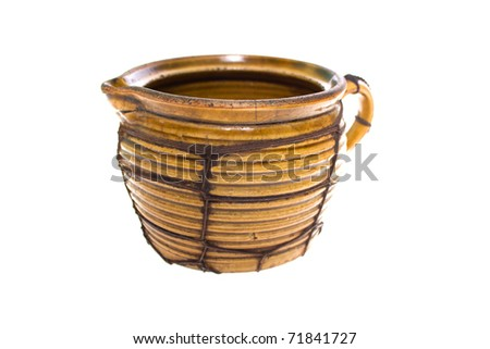 Old clay pot isolated on white background - stock photo