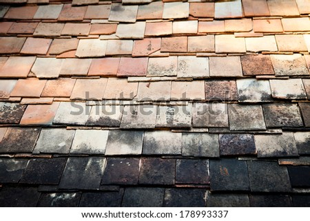 Old clay roof - stock photo