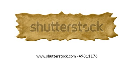 Old clean nameplate with the verdigris. Isolated on white, with clipping path. - stock photo