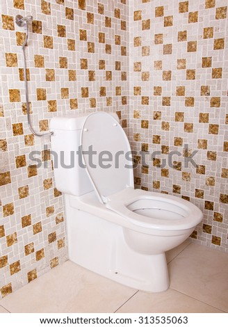 Old clean toilet with old tiles (80s) - stock photo