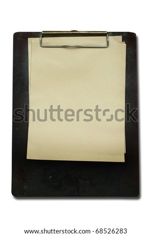 Old Clip board with old paper - stock photo