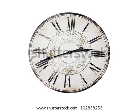 Old Clock Isolated on white - stock photo