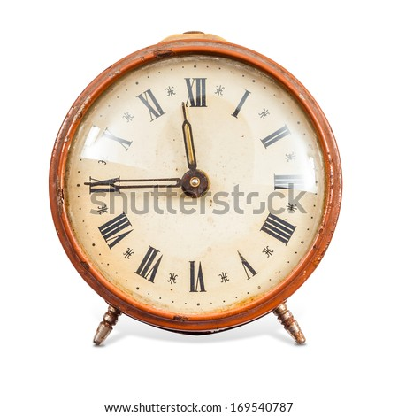 Old Clock Isolated on white background and clipping path - stock photo