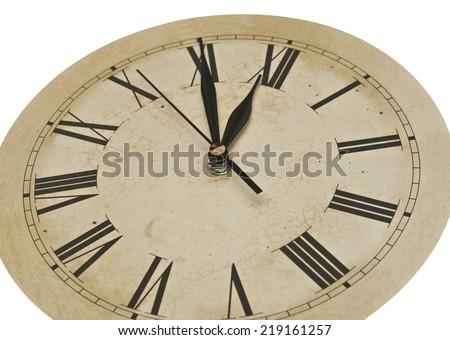 Old Clock Isolated on white . old vintage clock face  - stock photo