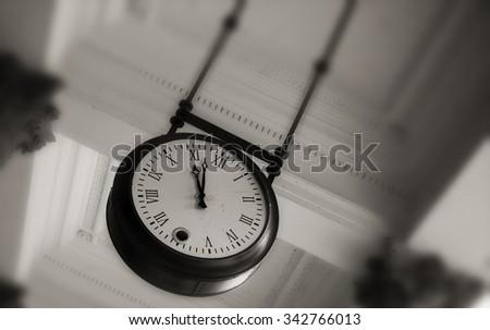 Old clock , Karlovy Vary in Czech Republic - stock photo