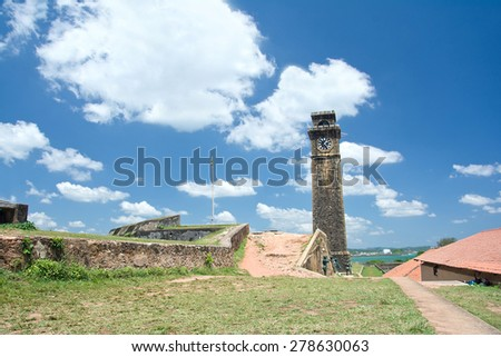 Old Clock Tower At Galle Dutch Fort 17th Centurys Ruined Dutch Castle That Is Unesco Listed As A World Heritage Site In Sri Lanka - stock photo