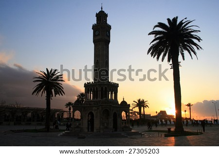 Old Clock tower from izmir - stock photo