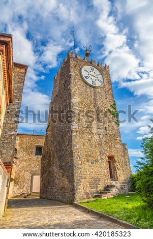 Old clock tower in Montecatini Alto. Italy. - stock photo