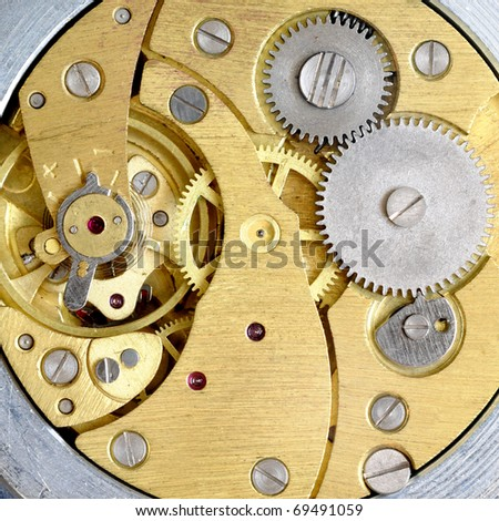 Old clockwork with gears - stock photo