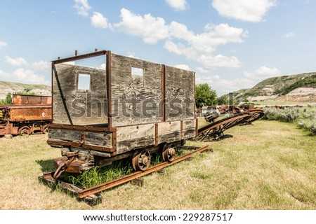 old coal train - stock photo