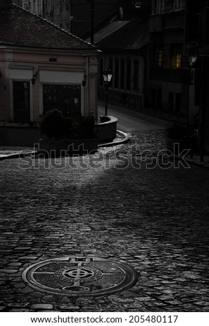 Old cobblestone street at night. The cobbles are reflecting the moonlight. - stock photo