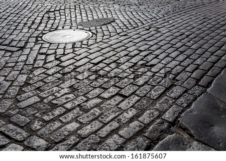 Old cobblestone street from New York City - stock photo