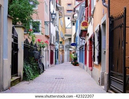 Old cobblestone street in Zurich in Switzerland - stock photo