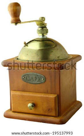 old coffee grinder isolate - stock photo