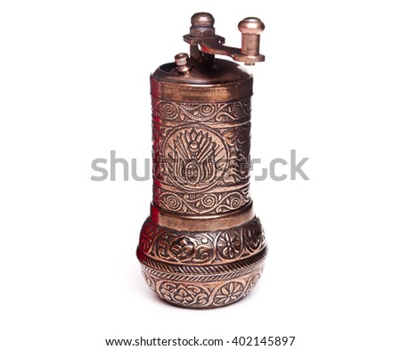 Old coffee grinder isolated on a white background - stock photo