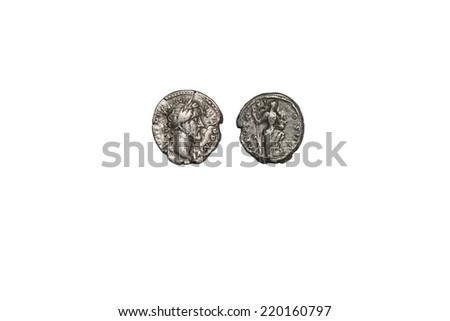 old coin, Antoninus Pius denarius. 151-152 AD, isolated on white - stock photo