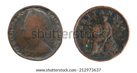 Old coin England 19th century, 1 penny  - stock photo