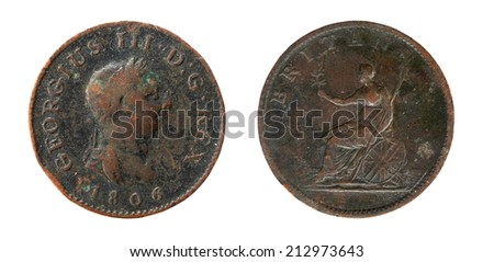 Old coin England 19th century, 1 penny 1806 - stock photo