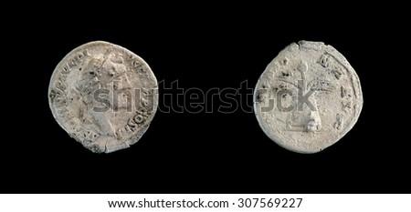 Old coin Roman silver denarius - stock photo