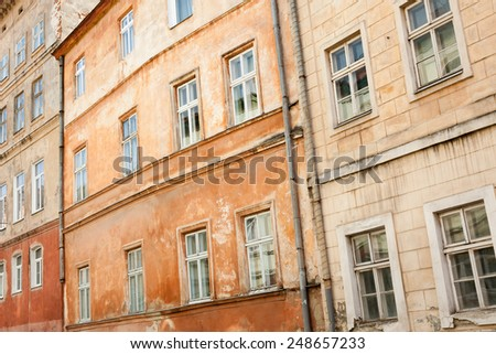 Old colorful buildings in historic part of Lviv, Ukraine - stock photo