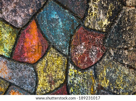 Old colorful floor tiles - stock photo
