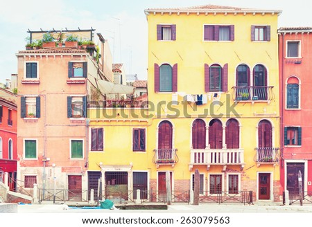 Old colorful houses in Venice, Italy. - stock photo