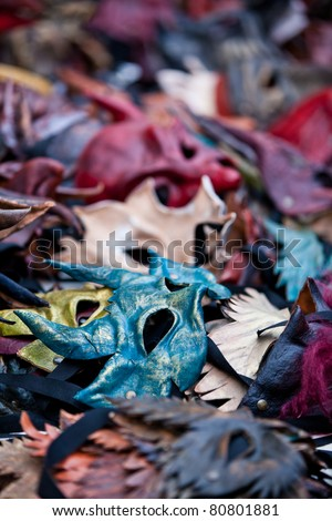 Old colorful masks - stock photo