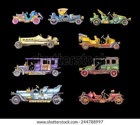 Old Colour Retro Cars - stock photo