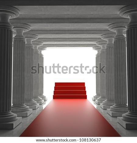 Old columns is ancient style with Red carpet Realistic 3D illustration - stock photo