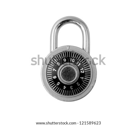 old combination padlock with clipping path - stock photo