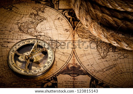 old compass and rope on vintage map 1752 - stock photo