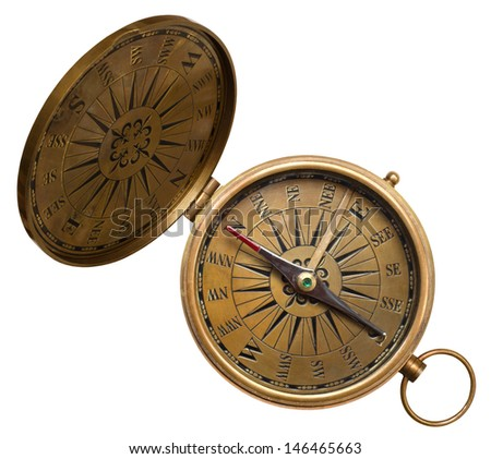 old compass isolated on the white background - stock photo