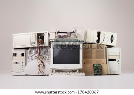 old computer and electronic waste  - stock photo