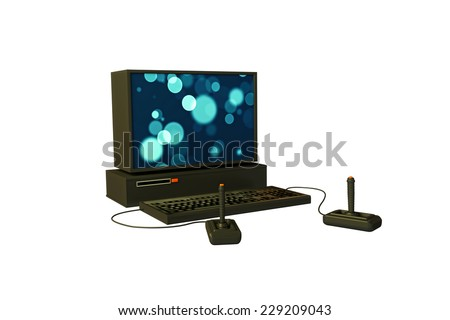 old computer gaming isolated on white background - stock photo
